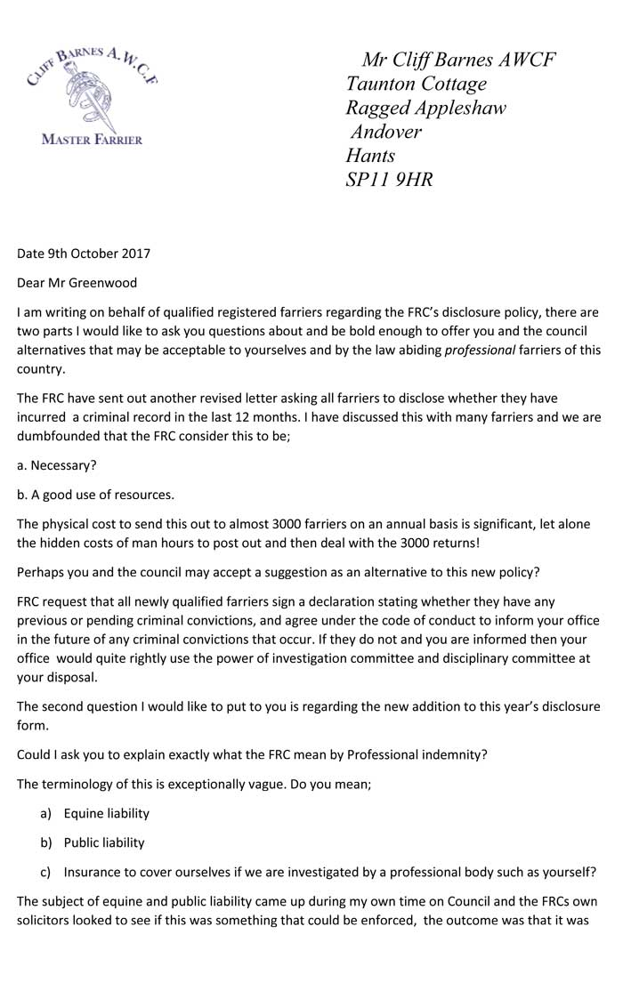 Open letter to FRC Disclosure Policy